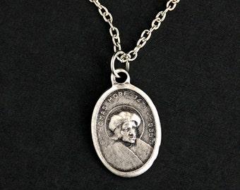 Saint Thomas More Necklace. Catholic Necklace. St Thomas More Medal Necklace. Patron Saint Necklace. Christian Jewelry. Religious Necklace.