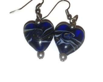 Blue silver swirled heart earrings with silver pearl and silver earwire