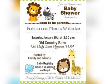 Jungle Baby shower invitations, Safari Baby Shower Invitation, Jungle Safari, Jungle Safari shower Printable Invitations, Pink polka dot