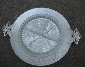 Vintage Hammered Aluminum Tray// Butterfly handles// with Divided Glass Insert, #298D