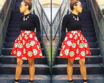 Red flower print mini skirt