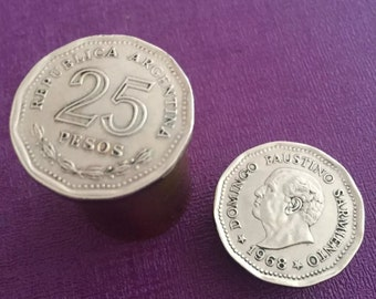 Argentine 1968 Coins Made Into Coin Holder/Pill Box.Coin Pill Box. Coin Snuff Box. Snuff Box. Coin Holder. Collectible Argentine Coins