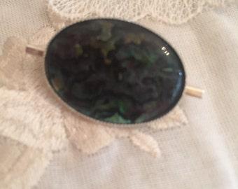 Abalone pin Silver tone brooch. Pin bar brooch. Abalone brooch