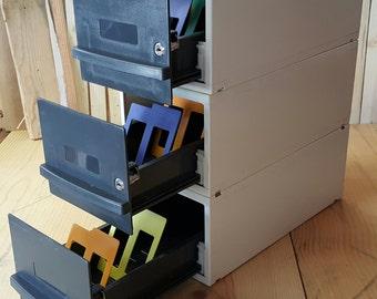 Vintage Diskette Drawer Storage Box Supply Box Computer Parts Storage Disk Storage School Office Retro 1990's Organizing Box Stackable