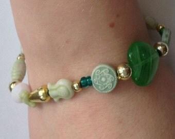 Mix green beads bracelet