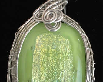 Sterling Filled Wire Wrapped Green Glass Fused/Kilnformed Pendant with Dichroic