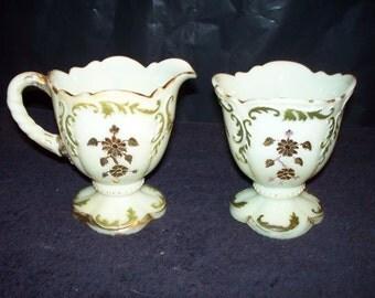 Antique Milk Glass Cream and Sugar Set