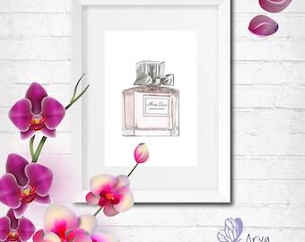 Miss Dior Perfume Bottle, Fashion Illustration, DIY printable poster, Inspirational print, Motivational poster, gift idea, wall decoration