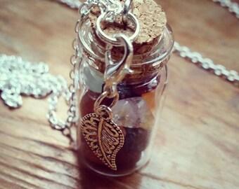 Fair Jar Necklace with Leaf Charm