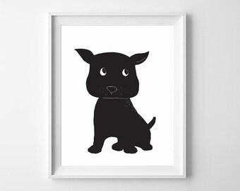 Dog Wall Art,Dog Nursery Art,Black Dog,Dog Printable Nursery,Dog Children Printable,Printable Art,Dog Nursery,Dog Black and White,Dog Decor