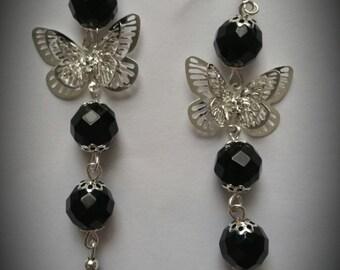 Women's Black Beads Butterfly Earrings