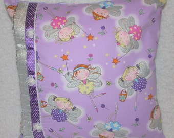 Handmade Cushion Cover - Groovy Fairies with Shiny Wings