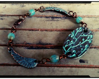 Sale* Gypsy Wings - Beaded Link Bracelet//Bronze & Turquoise/Patina//Vintage Inspired Bracelet//Czech Beads//Art Deco Design Charm/OOAK Gift