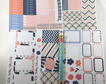 Pink and Navy ECLP Weekly Kit Mambi Happy Planner Stickers chevron scallops checklists weekend banner hydration tracking