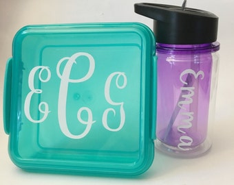 Personalized Lunch Kit Set - Easter Basket Gift for Kids - Sandwich box and drink bottle set - School lunch set