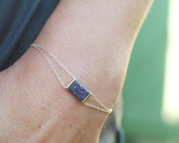 Silver sterling bracelet with gray and fuchsia pink square 'Phlox'