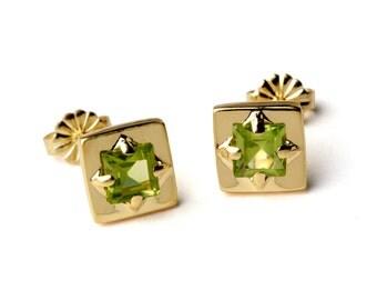 SQUARE Earrings, Gold Peridot Earrings, Unique Peridot Stud Earrings, Small Peridot Posts, Geometric Earrings, Gift for Her