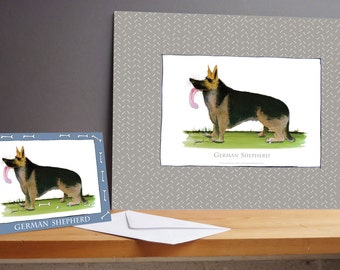 Fun German Shepherd Gift Print and greeting card