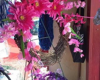 Flower grapevine wreath