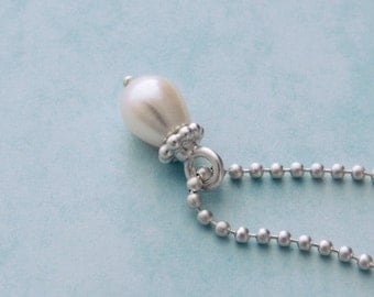 Pearl drop Pearl pendant necklace silver chain necklace