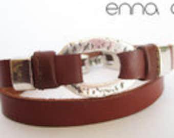 Oval bracelet double leather
