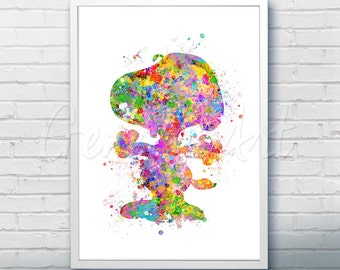 Snoopy Peanuts Watercolor Art Poster Print - Wall Decor - Watercolor Painting - Watercolor Art - Kids Decor- Nursery Decor