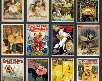 Collector's Set of Assorted Vintage Circus Posters Set of 12 Prints