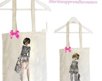 Tote bag duo mother daughter model EDEN