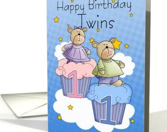 Twins First Birthday Card - Two Little Bears card - Little bears and cupcakes