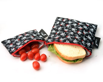 Ready to ship - Reusable Snack Bag Set - Skulls with zippers