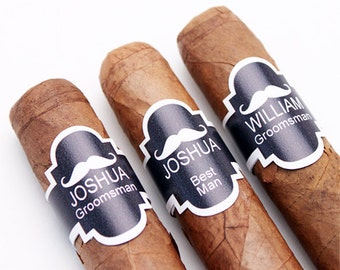 8 pc Groomsmen's Mustache Personalized Cigar Band Stickers (PPD-JM212883)