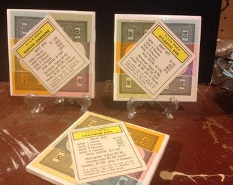Set of 3 Monopoly Tile Coasters - Yellow Properties