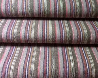 Vintage Japanese Kimono Wool fabric, brown and pink stripe, by the yard