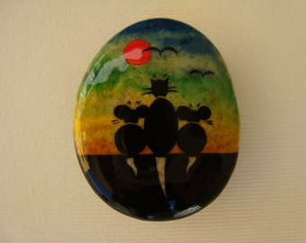Collectibles-stone magnet magnet-fridge magnet-hand painted stone-lucky stone-cat magnet-original miniature cat