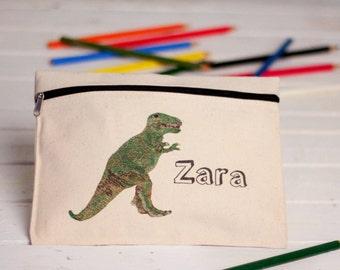 Personalised Dinosaur Pencil Case, Dinosaur Pencil Pouch, Dinosaur Zipped Pouch, Triceratops Pencil Case, T-Rex Pencil Case