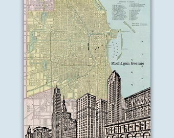 Chicago Art Print, Chicago Map, Chicago Wall Art, Personalized Gift, Chicago Decor, Wedding Gift, Chicago Poster, City Print,Chicago Skyline
