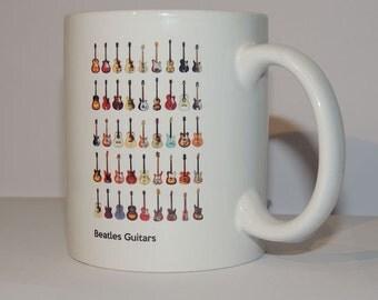 Beatles Guitars Illustrations - 11oz Ceramic Coffee Cup Mug
