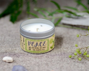 PEACE Aromatherapy Candle (4oz) - 100% Soy Wax and Pure Essential Oils