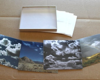 Sky and Cloud Notecards, Boxed notecard set, 4 cards and matching evelopes, Utah sky, rainbow notecard, blank greeting cards, David Larson