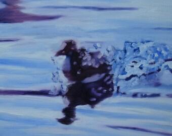 Duck to Water, Modern Art, Contemporary Art,Wall Decor,Wall Canvas,Home Decor,Original Art