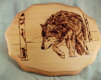 Wolf - Lone wolf woodburning art