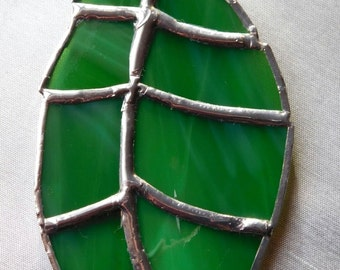 Green stained glass leaf suncatcher, sun catcher made to order