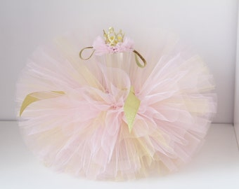 Pink - Gold tutu and Crowne headband set, Pink Gold tutu