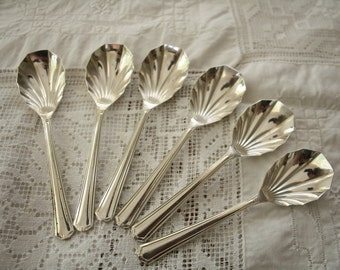 Silver plated Scalloped Sheep Spoons