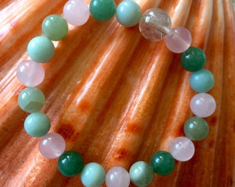 Rutilated Quartz, Rose Quartz, Green Aventurine, Amazonite healing stone crystal bracelet