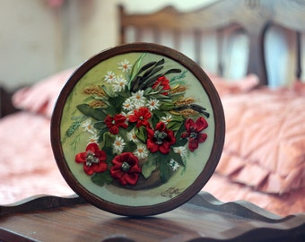 Silk Poppy Hand Embroidery Ribbons 3D Picture