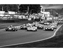vintage racing cars at goodwood revival blank photo greeting card in black and white