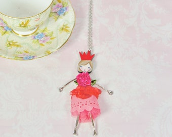French doll pendant, doll necklace with a pink dress, little girl pendant, Girl teen gift, metal necklace, cute, funny jewelry