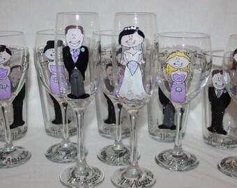 PERSONALISED WEDDING GLASS - Wedding Character Design personalised wedding glass