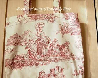 Bag in red jouy fabric with lining